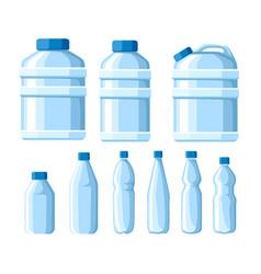 Plastic water bottle set healthy agua bottles vector