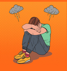 Pop art stressed young man sitting on the floor vector