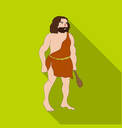 Primitive man with truncheon icon in flate style vector