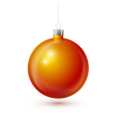 realistic orange christmas ball with silver ribbon vector image