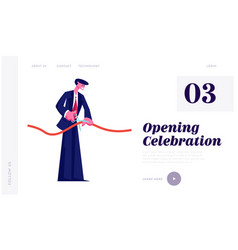 ribbon cutting ceremony celebration website vector image