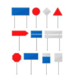 road traffic signs flat cartoon vector image