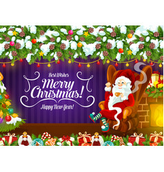 Santa claus near fireplace with cup tea vector