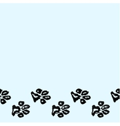 Seamless border from dog paw print vector