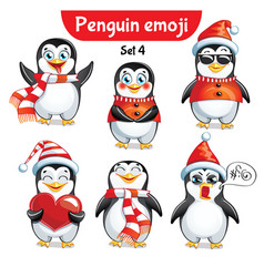 Set of christmas penguin characters set 4 vector