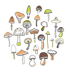 Set of doodle mushrooms on a white background vector image