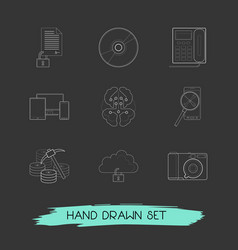Set of technology icons line style symbols with vector