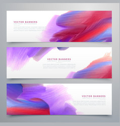 set of three watercolor paint banners vector image