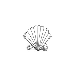 shell sketch drawing icon summer themed vector image