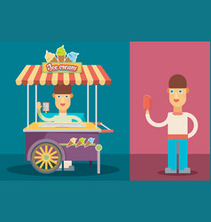 Shiny colorful ice cream cart with people vector
