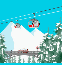 Ski resort in mountains with cable cars and bridge vector