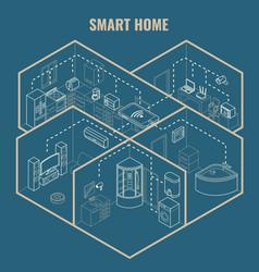 Smart house concept 3d isometric blueprint vector