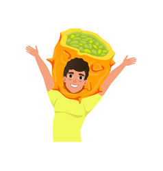 smiling man character in kiwano fruit headwear vector image