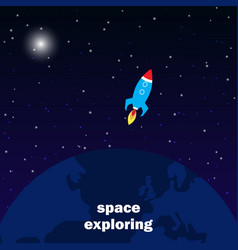 spaceship launch to outer space cosmos exploring vector image