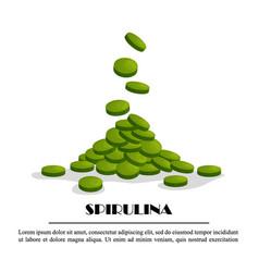 Spirulina falling tablets algae nutritional vector