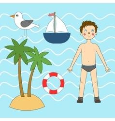 Summer sea set vector