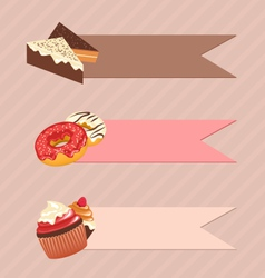 Three frames with confectionery on beige vector