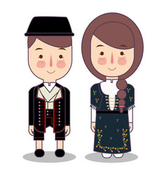 traditional national clothes of norwegian bunad vector image