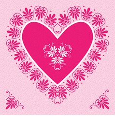 Valentines Day Card with pink heart vector