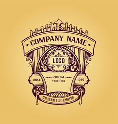 vintage label badge premium retro logo design vector image