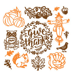 Vintage thanksgiving fall paper cut design vector