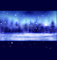 Winter snow background with night stars and trees vector