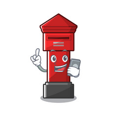 With phone pillar box isolated with cartoon vector