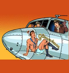 Women pilots girls pinup man on fuselage vector