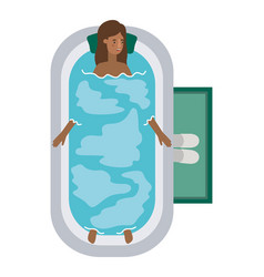 Young woman afro in bathtub avatar character vector