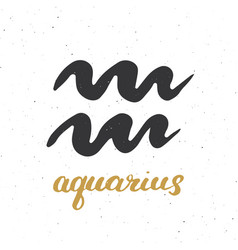 Zodiac sign aquarius and lettering hand drawn vector