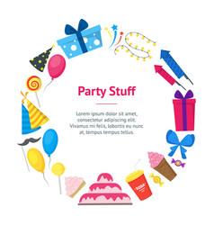 cartoon party holiday banner card circle vector image vector image