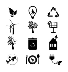 Ecology icons set Collection of eco icons vector image