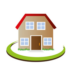 half arch with facade confortable house with attic vector image