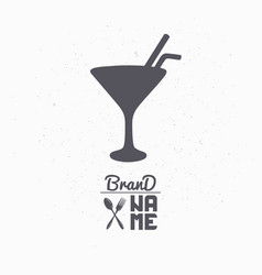 hand drawn silhouette of cocktail glass vector image vector image