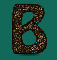 letter b with golden floral decor vector image vector image