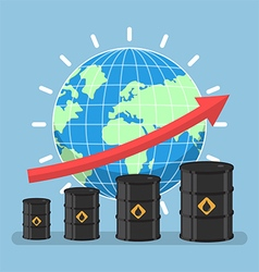 Oil barrels and growth graph with wolrd vector