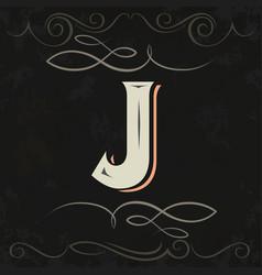 retro style western letter design letter j vector image vector image