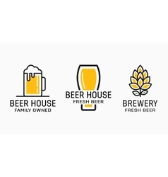 Set of vintage beer and pub logos Labels with vector image vector image
