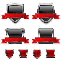 shield and ribbon vector image vector image