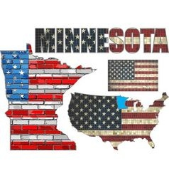 USA state of Minnesota on a brick wall vector image vector image