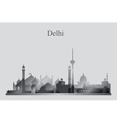 Delhi city skyline silhouette in grayscale vector image