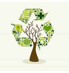 Green recycle symbol concept tree vector image vector image