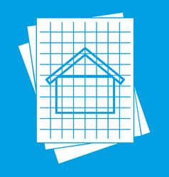 House blueprint icon white vector