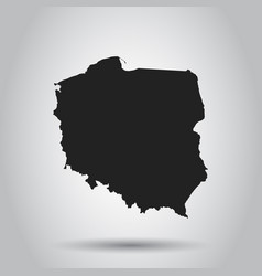 poland map black icon on white background vector image