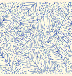 seamless pattern with contour tropical palm leaves vector image vector image
