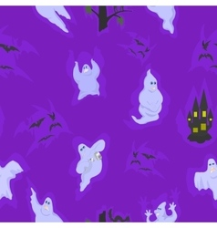 seamless with the spirits on Halloween vector image