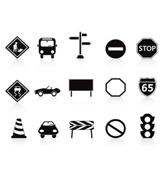 black traffic sign icons set vector image vector image
