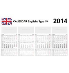 Calendar 2014 English Type 19 vector image vector image