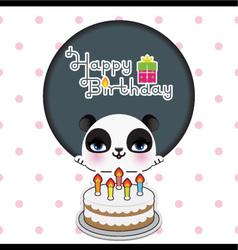 Cute panda birthday card vector image vector image