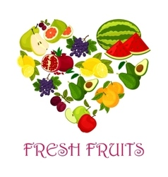 Fresh fruits symbol in shape of heart icon vector image